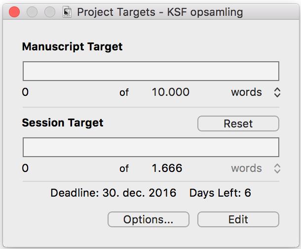 Udregn hvor mange ord du skal skrive per dag på dit skriveprojekt med Scrivener