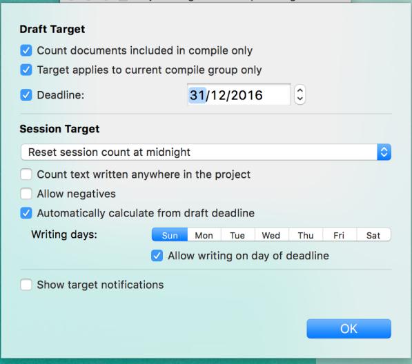 Dit skriveprojekts deadline og dage til at skrive i skriveprogrammet Scrivener