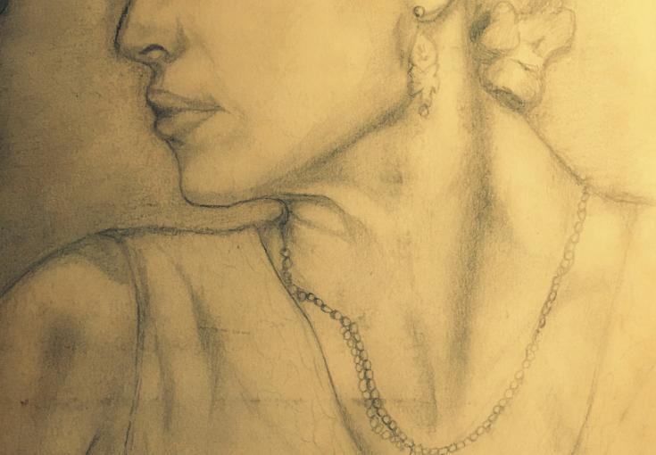 En tegning af Madonna der spiller Evita i filmen af samme navn.