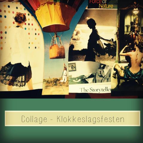 Collage til mit skriveprojekt Klokkeslagsfesten