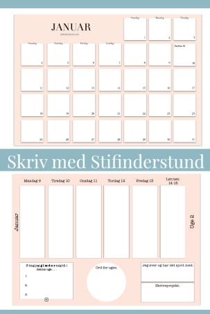 Ugekalender og månedskalender for januar PDF