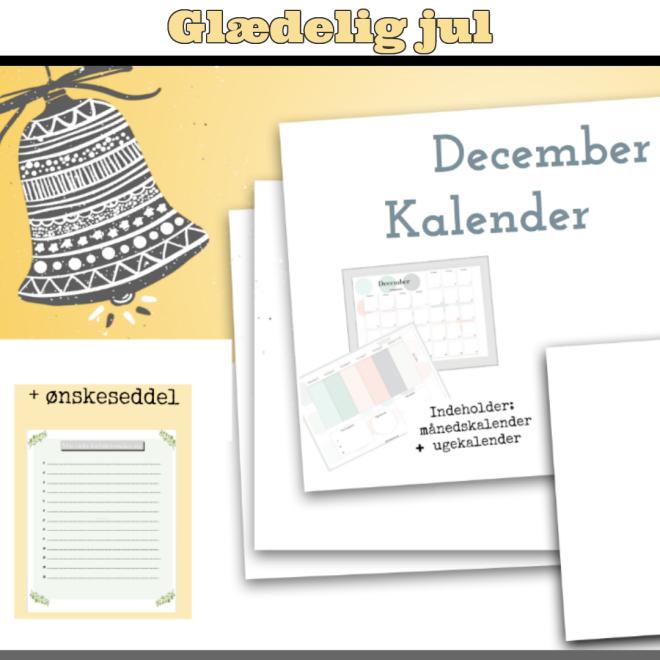 Ønskeseddel til jul og kalender til december 2017